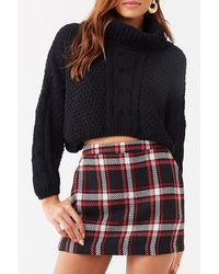 Forever 21 Plaid Mini Skort , Black/white