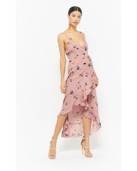 Forever 21 - Floral High-low Wrap Dress - Lyst