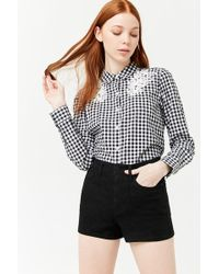 836c96366 Forever 21 High-Waist Cuffed Denim Shorts in Black - Lyst
