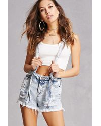 Forever 21 - Acid Wash Overall Shorts - Lyst