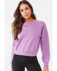 Forever 21 Fleece Raglan Sweatshirt - Purple