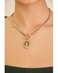 Forever 21 Coin Pendant Necklace - Metallic