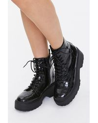 Forever 21 Faux Leather Ankle Boots - Black