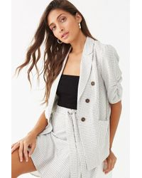 Forever 21 Grid Print Blazer & Skirt Set , White/black