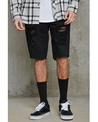 Forever 21 - Shorts di jeans effetto consumato - Lyst
