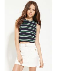 Forever 21 | Button-back Striped Top | Lyst