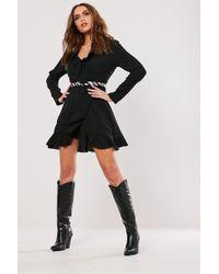 Missguided - Ruffle Trim Mini Dress At - Lyst