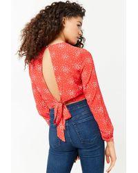 7e877b5135e Forever 21 - Women's Speckle Print Tie-back Crop Top - Lyst