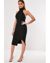 Missguided - Open-back Dress At , Black - Lyst