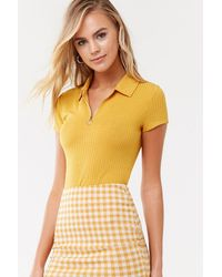 Forever 21 Ribbed Pull-ring Top - Yellow