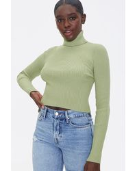 Forever 21 Ribbed Turtleneck Sweater - Green