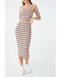 Forever 21 Striped Crop Top & Midi Skirt Set , Red/multi