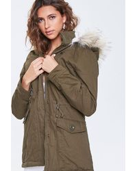 Forever 21 Faux Fur-trim Hooded Parka - Green