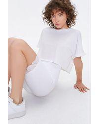 Forever 21 Lace-trim Biker Shorts - White