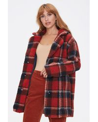 Forever 21 Faux Shearling Plaid Co - Red