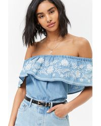 Forever 21 - Embroidered Floral Flounce Top - Lyst