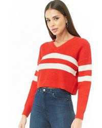 aa473263b69d92 Forever 21 - Women's Varsity Striped Cropped Sweater - Lyst