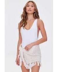 Forever 21 Crochet Swim Sarong Cover-up - White
