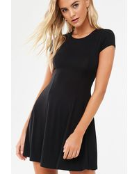 Forever 21 Lace-up Skater Dress , Black