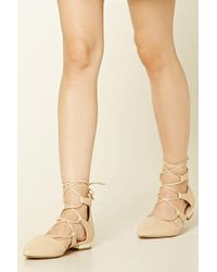 Forever 21 - Lace-up Faux Leather Flats - Lyst