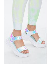 Forever 21 Holographic Chunky Platform Sandals - Multicolour