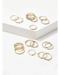 Forever 21 Assorted Ring Set , Gold/clear - Metallic