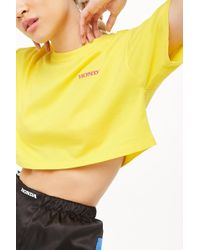 73521272511428 Lyst - Forever 21 French Terry Honda Crop Top in Red
