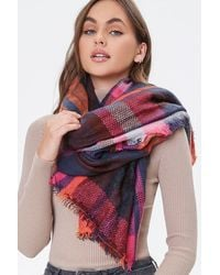 Forever 21 Plaid Infinity Scarf In Red