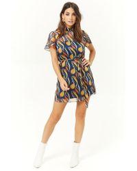 Forever 21 - Sheer Abstract Shift Dress , Blue/multi - Lyst