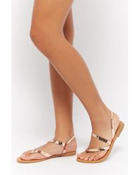 Forever 21 - Metallic Flat Sandals - Lyst