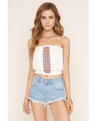 Forever 21 - Embroidered Crop Top - Lyst