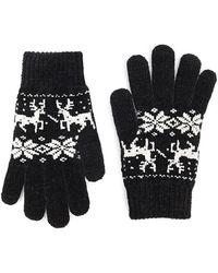 Forever 21 Fair Isle Chenille Gloves - Black
