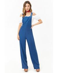 a928c314fb4 Forever 21 - Women s Chambray Wide-leg Jumpsuit - Lyst