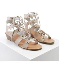 Forever 21 Leather Caged Wedges , Nude - Natural