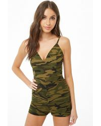 Forever 21 - Camo Lace-up Playsuit - Lyst