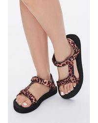 Forever 21 Strappy Leopard Print Flatform Sandals - Brown