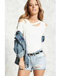 Forever 21 - Distressed Cuffed Denim Shorts - Lyst