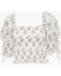 Forever 21 Smocked Floral Print Crop Top - White