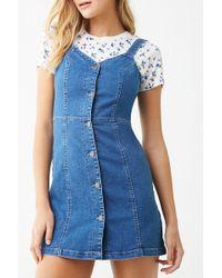 Forever 21 - Denim Button-front Mini Dress , Medium Denim - Lyst