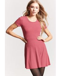 FOREVER21 - Ribbed Knit Fit & Flare Dress - Lyst