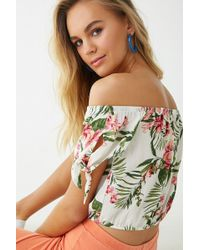 b5c73f9edaee96 Forever 21 - Floral Off-the-shoulder Crop Top - Lyst