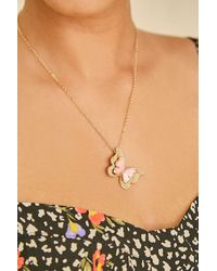 Forever 21 Butterfly Pendant Necklace - Metallic