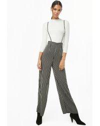 Forever 21 Striped Suspender Pants , Black/cream