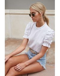 Forever 21 Ruched Puff-sleeve Top - White