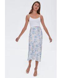 Forever 21 Floral Satin Midi Skirt - White