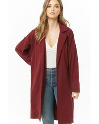 Forever 21 Women's French Terry Trench Coat - Red
