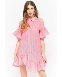 Forever 21 - Striped Button-front Open-shoulder Dress - Lyst
