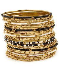 Forever 21 Women's Beaded Bangle Bracelet Set - Metallic