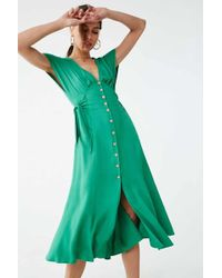 Forever 21 Button-front Midi Dress - Green