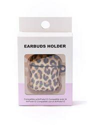 Forever 21 Leopard Print Wireless Earbuds Case In Black